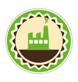 circular emblem of factory and smoke contamination vector image