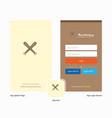 company baseball bat splash screen and login page vector image vector image