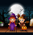 couple witch celebration halloween day in the nigh vector image