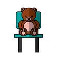 cute bear teddy sitting on chair vector image