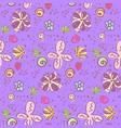 cute bright violet doodle floral pattern vector image vector image