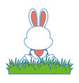 cute rabbit in landscape character icon vector image vector image