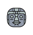 ethnic tribal mask mayan aztec flat color line vector image