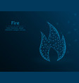 fire symbol gas polygon icon on blue background vector image vector image