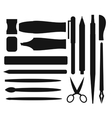 Flat stationery and drawing black tools pen set on vector image vector image