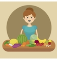 Girl and healthy food cartoon vector image