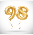 golden number 98 ninety eight metallic balloon vector image vector image