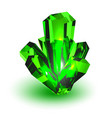 green crystal realistic volumetric crystal on a vector image vector image