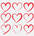 hand drawn hearts on transparent background vector image