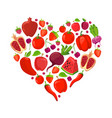 heart shape of red fruits and vegetables vector image vector image