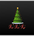 ho ho ho festive banner christmas tree on a black vector image
