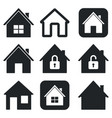 house icons set black collection simple web vector image