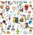 Kids school sketch seamless pattern vector image vector image