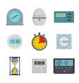 kitchen timer icons set flat style