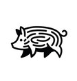 linear black drawing of swine vector image vector image