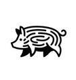 linear black drawing of swine vector image
