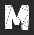 m white alphabet letter isolated on black vector image