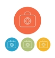 medical bag icons set on color rings vector image