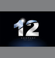 metal blue number 12 logo company icon design vector image vector image
