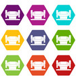 metalworking machine icon set color hexahedron vector image vector image