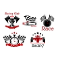 Motorsport symbols for sporting competition design vector image