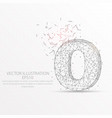 number zero starry sky or space low poly wire vector image vector image