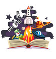 open book with rocket astronaut planets stars vector image vector image