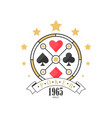 poker logo since 1965 vintage emblem for poker vector image vector image
