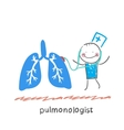 pulmonologist listens body lungs vector image vector image