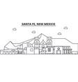 santa fe new mexico architecture line skyline vector image vector image