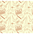Seamless pattern of tools for knitting icons vector image vector image