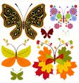 set abstract floral butterflies vector image vector image
