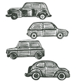 set of cute hand-drawn retro cars vector image vector image