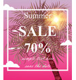 summer sale card palm tree pink vector image