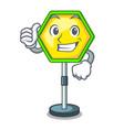 thumbs up cartoon traffic sign on traffic road vector image