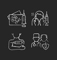 vaccine inoculation chalk white icons set vector image vector image