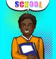 vintage pop art african american schoolboy vector image