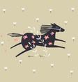 wild horse running scandinavian design vector image