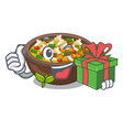 with gift fried minestrone in cup character vector image vector image