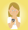young worried woman received bad message vector image