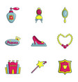 princess icons set flat style vector image