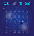 abstract blue space 2018 calendar vector image