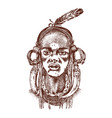 african woman portraits of aborigines vector image vector image