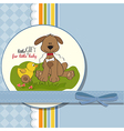 baby shower card with dog and duck toy vector image vector image