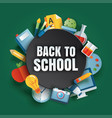back to school banner with education items vector image