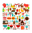 barbecue isolated objects big set vector image vector image