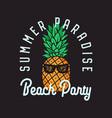 beach party emblem design on black vector image vector image