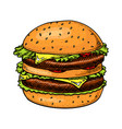 big burger in vintage style fast food vector image vector image