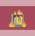 burning security metal safe vector image vector image