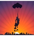 Business man flying on balloons to the sky vector image